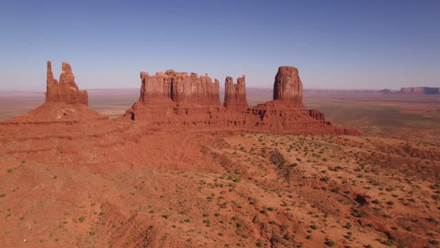 """monument valley"" long fly up to spires, utah, aerial, 4k, 1:44s, 24of32, stock video sale - drone discoveries - drone aerial view - monument valley stock videos & royalty-free footage"