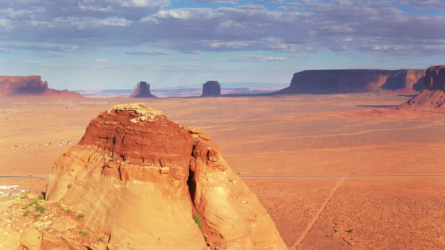 monument valley reveal - aerial shot - navajo reservation stock videos and b-roll footage