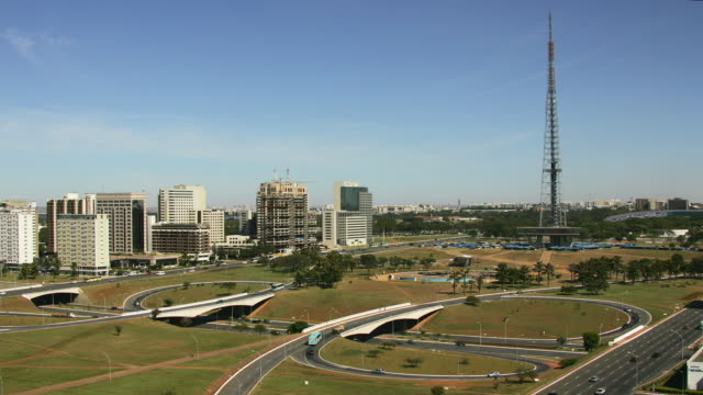 t/l, ws, ha, monumental axis and television tower, highway in foreground, brasilia, brazil - brasilia stock videos and b-roll footage
