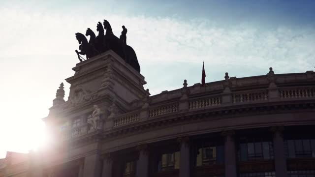 monumental building in gran via in madrid - madrid stock videos & royalty-free footage