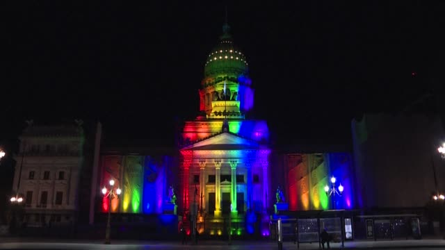 monuments of buenos aires city got colored with colors of rainbow to mark the 10th anniversary of the approval of the same-sex marriage bill by the... - buenos aires stock videos & royalty-free footage