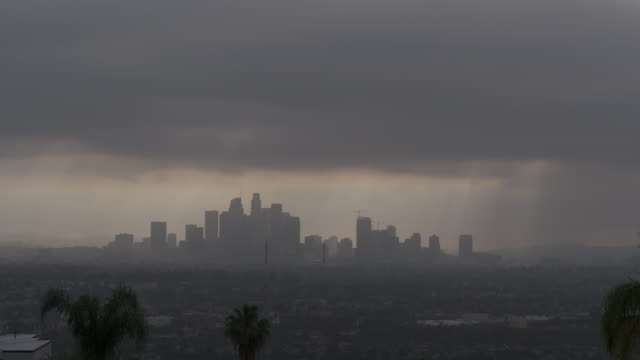moody downtown los angeles skyline - horizon stock videos & royalty-free footage