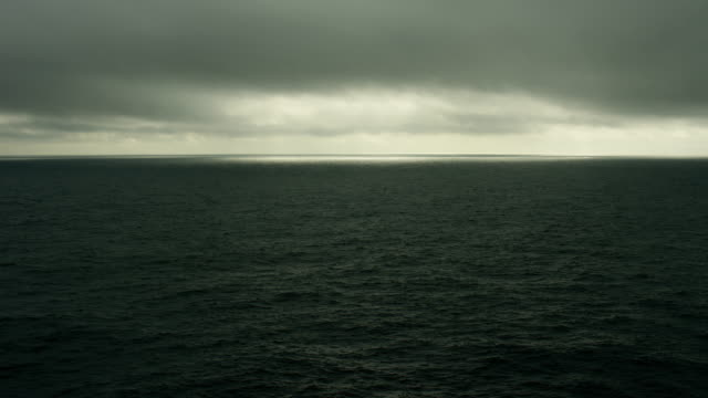 Moody Seascape With Dark Clouds Over North Pacific Ocean