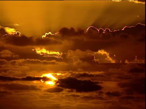 moody sunrise, dark orange sky with sun partially hidden by clouds, heron island - orange colour stock videos & royalty-free footage