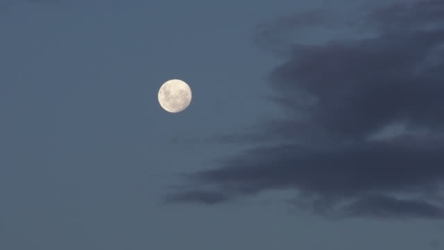 moon against clouds at dusk - full moon stock videos & royalty-free footage