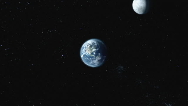 vídeos de stock, filmes e b-roll de cgi, moon and planet earth - espaço