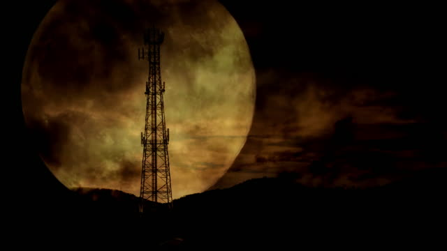 moon behind the antennas - mast stock videos & royalty-free footage