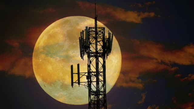 Moon behind the antennas