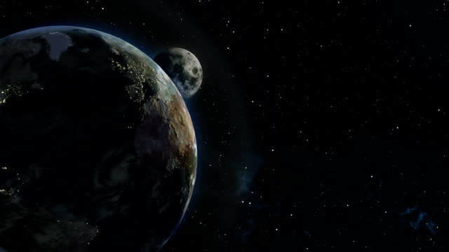 moon emerging from behind earth 3d illustration - moon stock videos & royalty-free footage