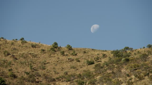 Moon hangs in sky over hills.