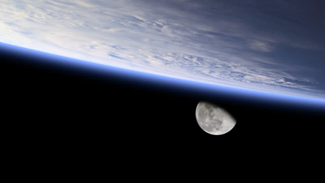 Moon on earth's horizon from space