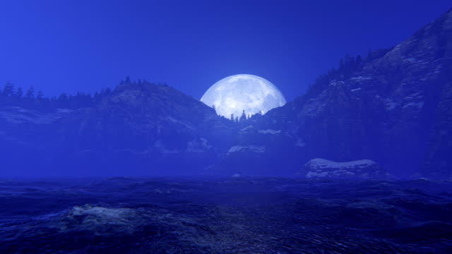 moon over ocean and mountains - midnight stock videos and b-roll footage