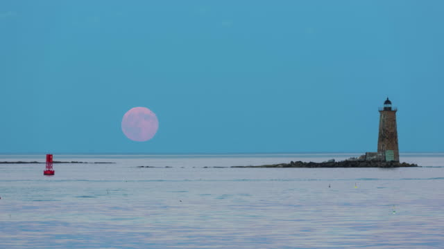 moon rise at whaleback lighthouse - supermoon stock videos & royalty-free footage