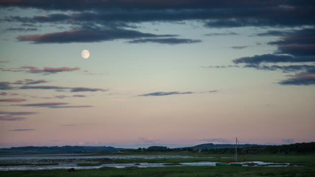moon rising over bird-filled wetland in northumberland - time lapse - northumberland video stock e b–roll