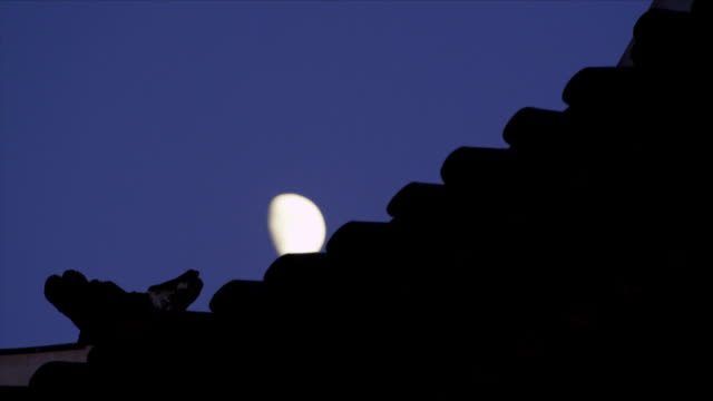 moon rising over the roof of suwon hwaseong castle (unesco heritage site) - suwon stock videos and b-roll footage