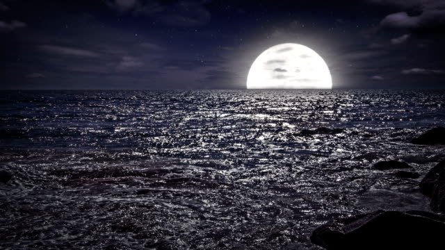 moon sets in the sea - full stock videos & royalty-free footage