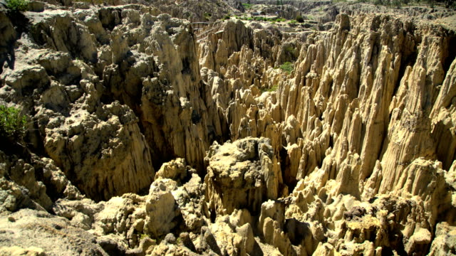 moon valley formations of rock of sandstone bolivia - bolivia stock videos & royalty-free footage