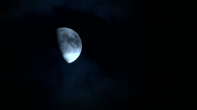 moon with cloud at night - zona pedonale strada transitabile video stock e b–roll