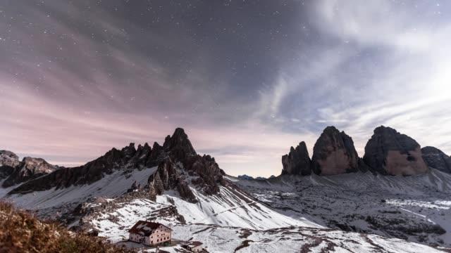 Moonlight at Three Peaks of Lavaredo and Paterno Mountain