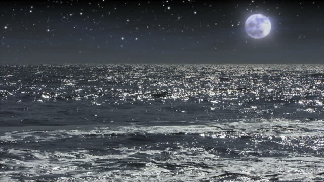 moonlight illuminates midnight waves. - digital enhancement stock videos and b-roll footage