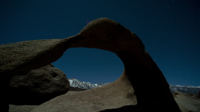 Moonlight illuminates the Moebius Arch in the Alabama Hills of California's Eastern Sierra.