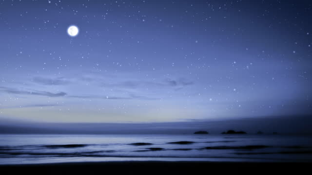 moonlight path with low fool moon above the sea - moonlight stock videos & royalty-free footage