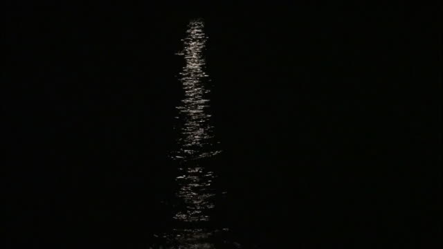 Moonlight reflects on the surface of the sea near the Bonin Islands in Japan.