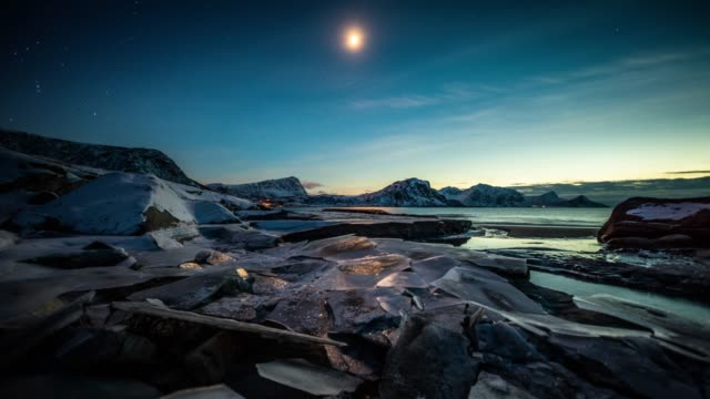 moonlit arctic landscape with cracked ice - time lapse tracking shot - ice floe stock videos & royalty-free footage