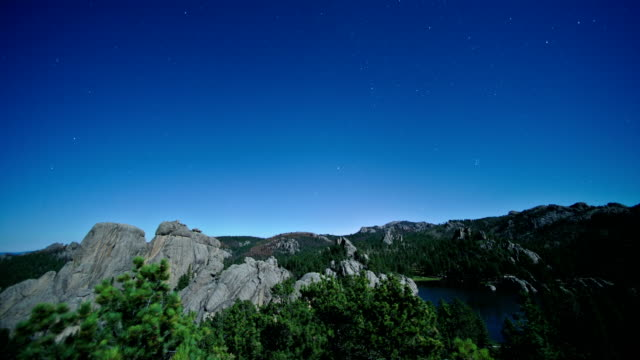 moonlit night sky over hills, time-lapse - south dakota stock videos & royalty-free footage