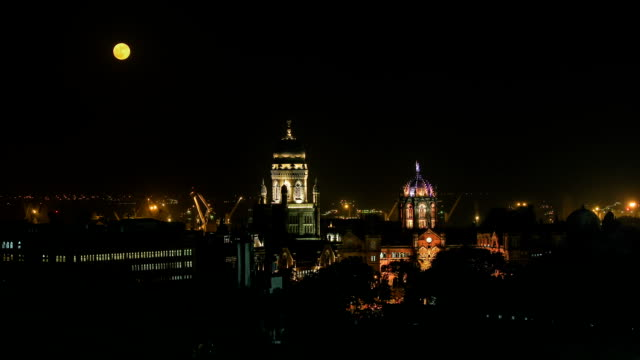 moonrise at cst station mumbai - full moon stock videos & royalty-free footage