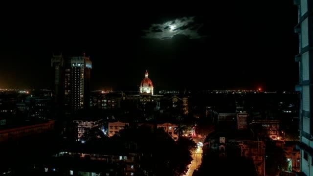 Moonrise in Mumbai with backdrop of Taj Mahal Hotel