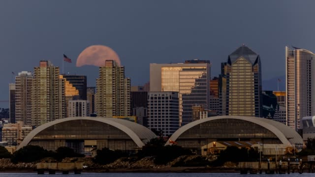 Moonrise Over Downtown San Diego and Naval Air Station North Island