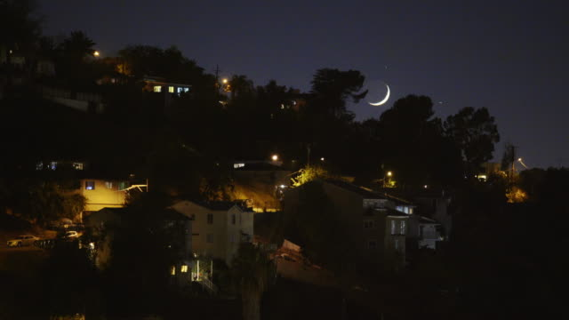 Moonrise over East Los Angeles Neighborhoods
