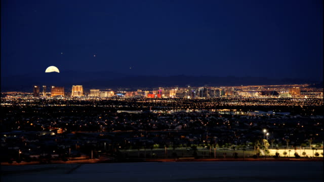 moonrise over vegas hd - nevada stock videos & royalty-free footage