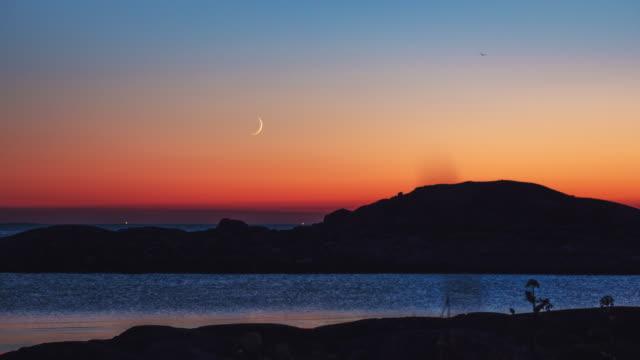 Moonset over Scandinavian Coast Landscape Time Lapse