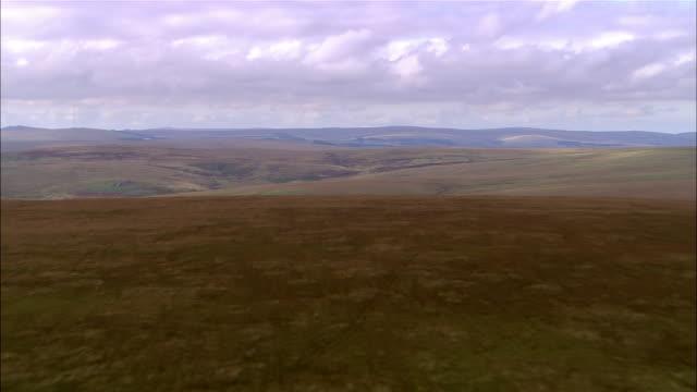 aerial, moor land, dartmoor, england - dartmoor stock videos & royalty-free footage