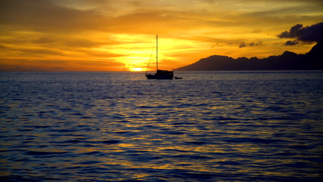 moorea island from tahiti at sunset south pacific - moorea stock videos and b-roll footage