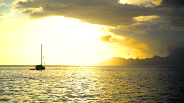 Moorea Island from Tahiti at sunset South Pacific