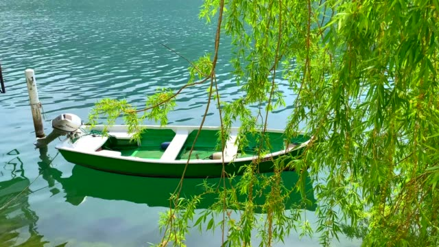 moored boat and tree branches on lake lugano in morcote - seeufer stock-videos und b-roll-filmmaterial