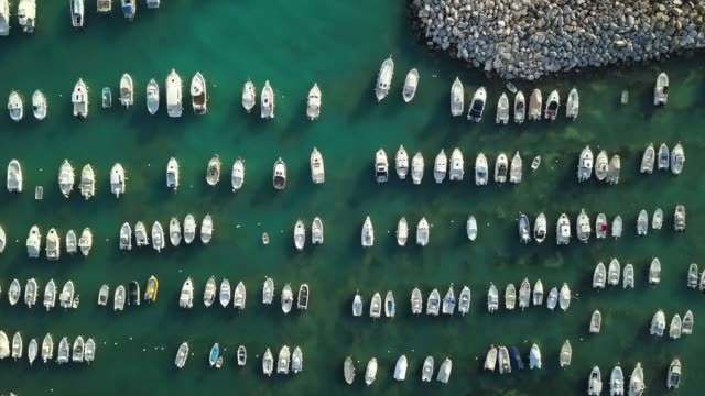 Moored boats from drone point of view