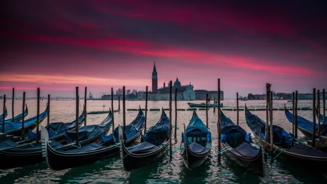 moored gondolas in venice, italy - romantic sky stock videos & royalty-free footage