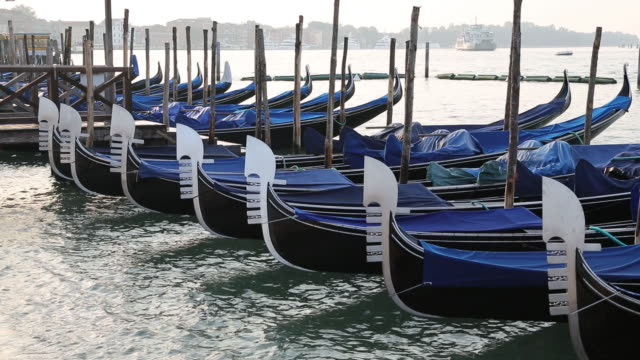 Moored gondolas on the Grand Canal