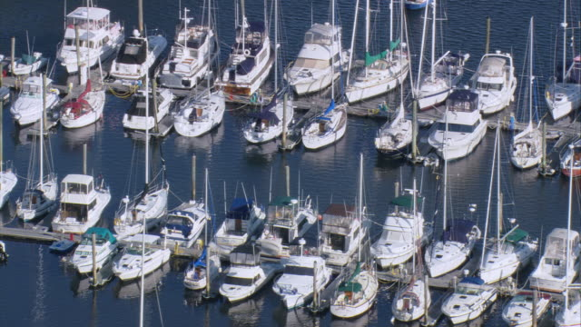 aerial moored sailboats at allen harbor / north kingstown, rhode island, united states - nightdress stock videos & royalty-free footage