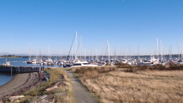 Moored sailing boats, Blaine harbour, Semiamhoo Bay, Washington, USA.