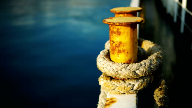mooring rope on the dock - stationary stock videos & royalty-free footage