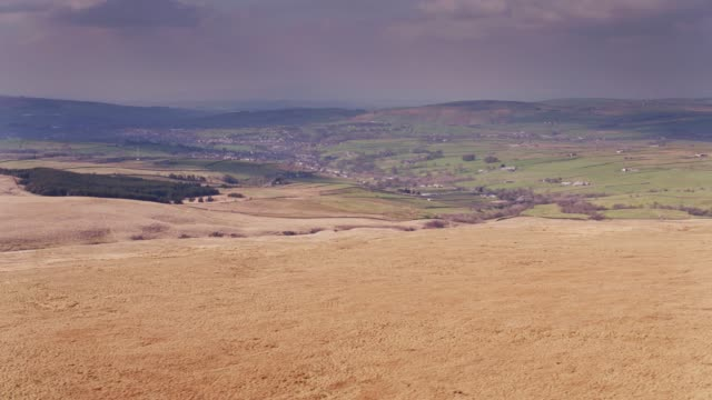 moorland above nelson, lancashire - drone shot - moor stock videos and b-roll footage