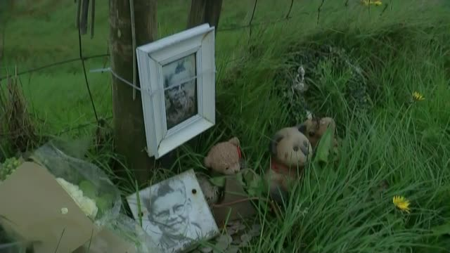 Brady ashes thrown into the sea T16051707 / 1652017 Peak District Saddleworth Moor Bouquets of flowers soft toys and framed photographs of victim...