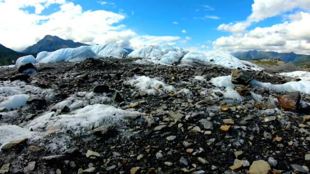 pov moraine dirt and debris in melting ice - rubble stock videos & royalty-free footage