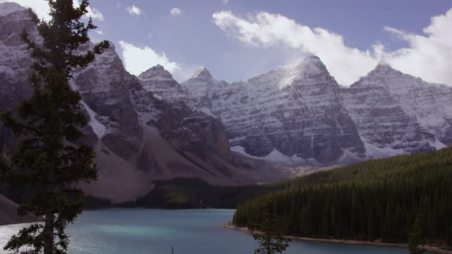 moraine lake, alberta canada - snowcapped mountain stock videos and b-roll footage