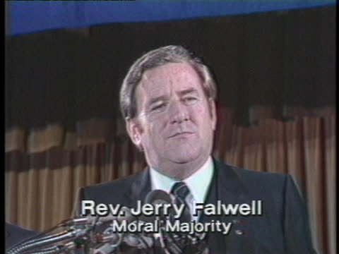 moral majority leader reverend jerry falwell expresses his support of us president ronald reagan. - preacher stock videos & royalty-free footage